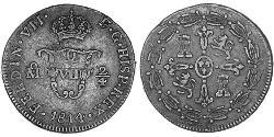 Virreinato de Nueva España (1519 - 1821) Cobre Fernando VII de España (1784-1833)