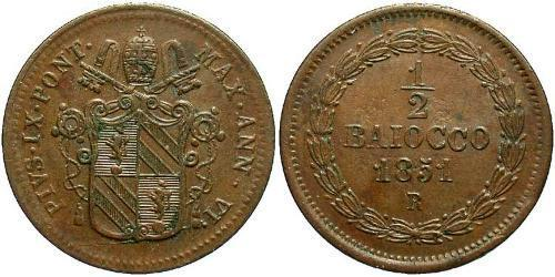 0.5 Baiocco Vatican (1926-) Copper Pope Pius IX (1792- 1878)