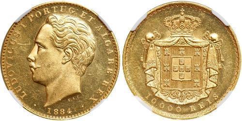 10000 Рейс Королівство Португалія (1139-1910) Золото Луіш I (1838 - 1889)