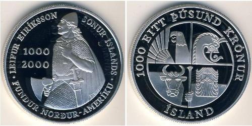1000 Крона Исландия Серебро
