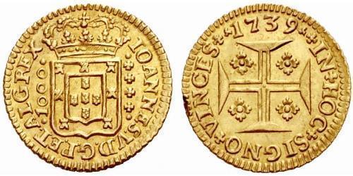 1000 Рейс Королевство Португалия (1139-1910) Золото Жуан V король Португалии (1689-1750)