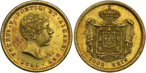 1000 Рейс Португалия / Королевство Португалия (1139-1910) Золото Peter V of Portugal (1837-1861)