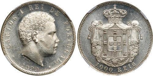 1000 Рейс Королевство Португалия (1139-1910) Серебро Карлуш I король Португалии(1863-1908)