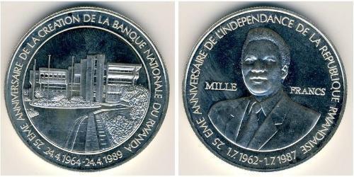 1000 Franc Rwanda Silver