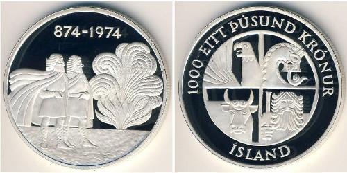 1000 Krone Islandia Plata