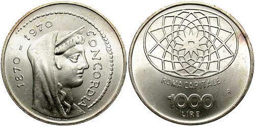 1000 Lira Italy Silver