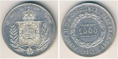 1000 Reis Empire of Brazil (1822-1889) Silver