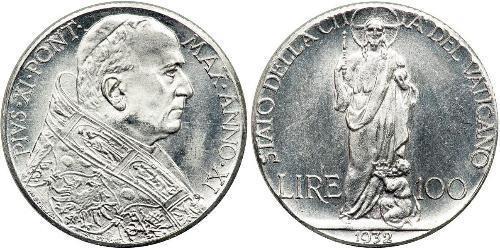 100 Лира Папская область (752-1870) Серебро