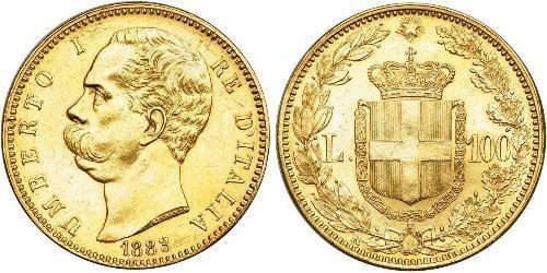 100 Ліра Kingdom of Italy (1861-1946) Золото Умберто I (1844-1900)