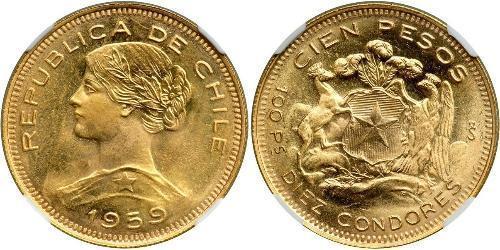 100 Песо Чили Золото