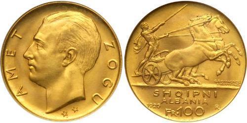 100 Франк Албанская республика (1925-1928) Золото Zog I, Skanderbeg III of Albania