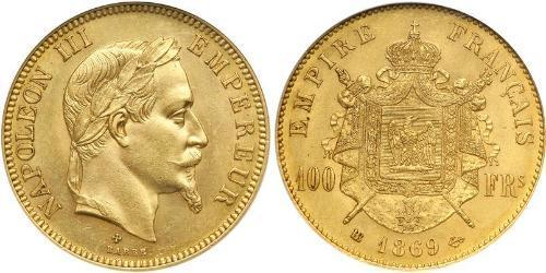 100 Франк Second French Empire (1852-1870) Золото Наполеон ІІІ Бонапарт (1808-1873)