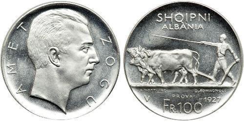 100 Франк Албанская республика (1925-1928) Платина Zog I, Skanderbeg III of Albania