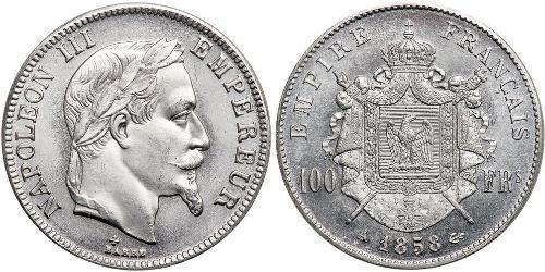 100 Франк Вторая французская империя (1852-1870) Платина Наполеон III Бонапарт (1808-1873)