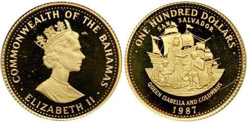 100 Dollar Bahamas Gold Elizabeth II (1926-)