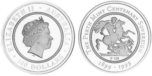 100 Dollar Australia (1939 - ) Silver Elizabeth II (1926-)