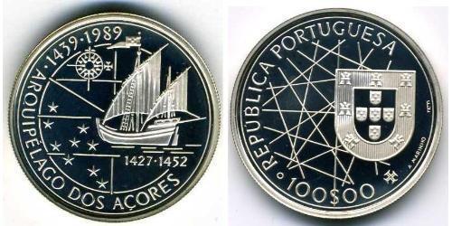 100 Escudo Portogallo (1975 - ) Argento