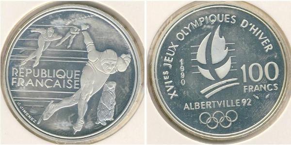 100 Franc Francia Argento