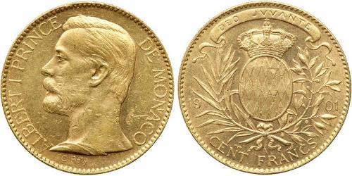 100 Franc Mónaco Oro Albert I, Prince of Monaco (1848 - 1922)