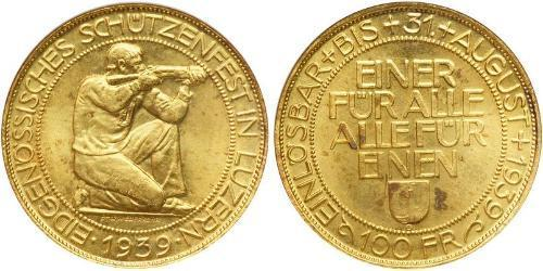 100 Franc Suiza Oro
