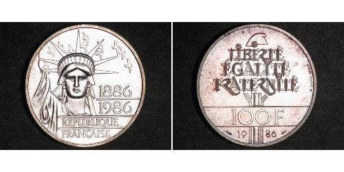 100 Franc Quinta República Francesa (1958 - ) Plata