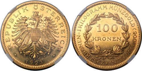 100 Krone Geschichte Österreichs (1918-1934) Gold