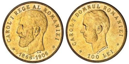 100 Leu Kingdom of Romania (1881-1947) Gold Carol I of Romania (1839 - 1914)