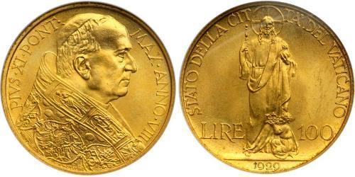 100 Lira 梵蒂冈 金 庇護十一世