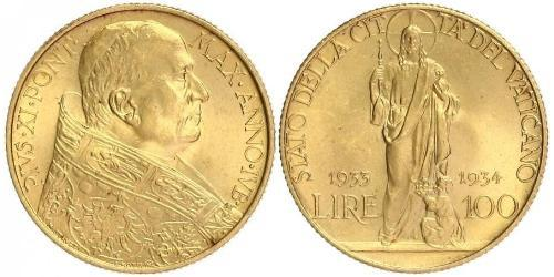 100 Lira Vatican (1926-) Or Pope Pius XI (1857 - 1939)