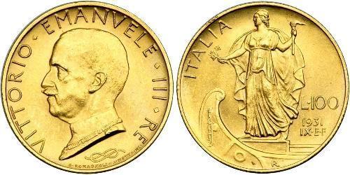 100 Lira Italy Platinum/Gold Vittorio Emanuele III (1869 - 1947)