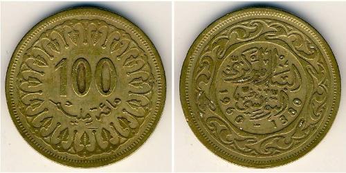 100 Millieme Tunisia 黃銅/金