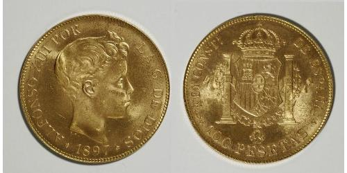 100 Peseta Kingdom of Spain (1874 - 1931) Oro Alfonso XIII of Spain (1886 - 1941)