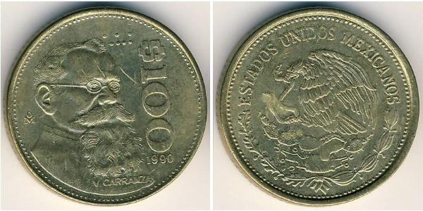 Coin 100 Peso United Mexican States 1867 Bronze 1990