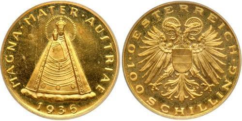 100 Shilling Federal State of Austria (1934-1938) Oro