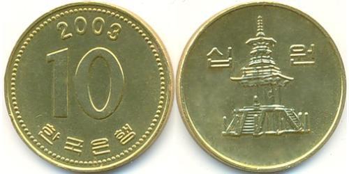 10 Вона Северная Корея Латунь