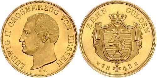 10 Гульден Великое герцогство Гессен (1806 - 1918) Золото Louis II, Grand Duke of Hesse