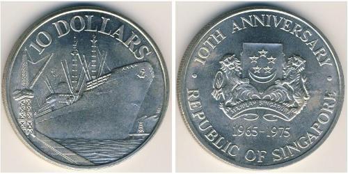 10 Доллар Сингапур Серебро