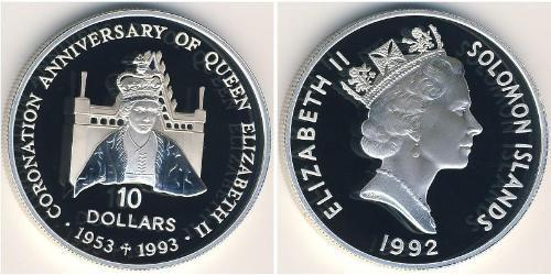 10 Доллар Соломоновы Острова Серебро Елизавета II (1926-)