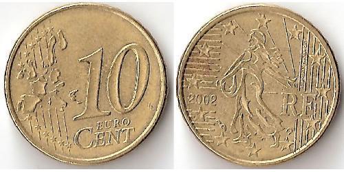 10 Евроцент Пятая французская республика (1958 - ) Алюминий/Цинк/Олово/Медь