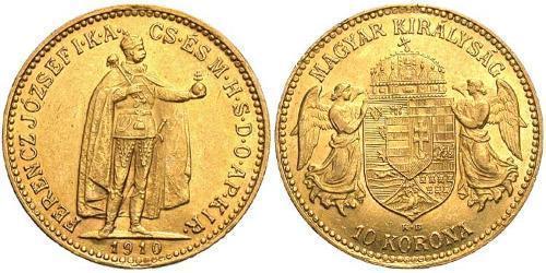 10 Крона Королевство Венгрия (1000-1918) Золото Франц Иосиф I (1830 - 1916)