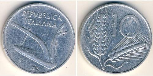 10 Ліра Італійська Республіка (1946 - ) Алюміній