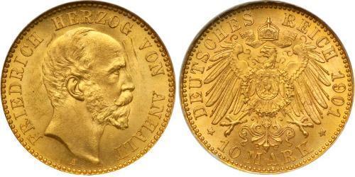10 Марка Ангальт-Дессау (1603 -1863) Золото Frederick I, Duke of Anhalt (1831-1904)