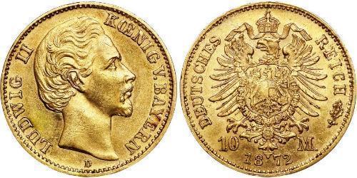 10 Марка Королевство Бавария (1806 - 1918) Золото Людвиг I (король Баварии)(1786 – 1868)