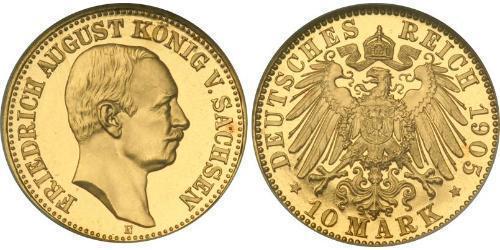 10 Марка Саксония (королевство) (1806 - 1918) Золото Фридрих Август III (король Саксонии) (1865-1932)