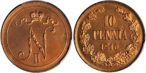 10 Пені Велике князівство Фінляндське (1809 - 1917) Мідь Микола II (1868-1918)