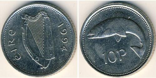10 Пені Ірландія (1922 - ) Нікель/Мідь