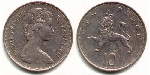 10 Пені Велика Британія (1922-) Нікель/Мідь Єлизавета II (1926-)