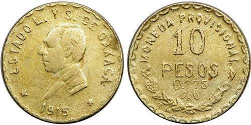 10 Песо Соединённые Штаты Мексики (1867 - ) Золото