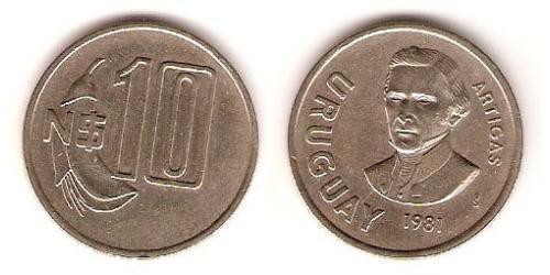 10 Песо Уругвай Никель/Медь