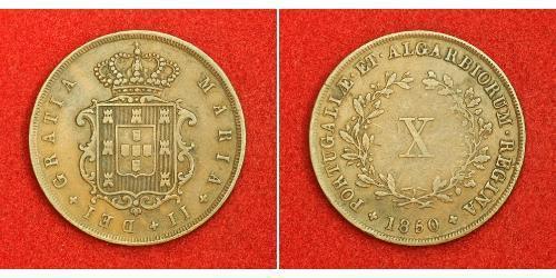10 Рейс Королівство Португалія (1139-1910) Мідь Мария II королева Португалії (1819-1853)